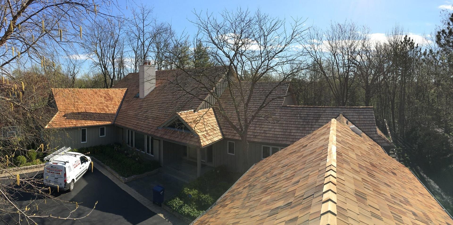 Cedar roof installation near Winnetka